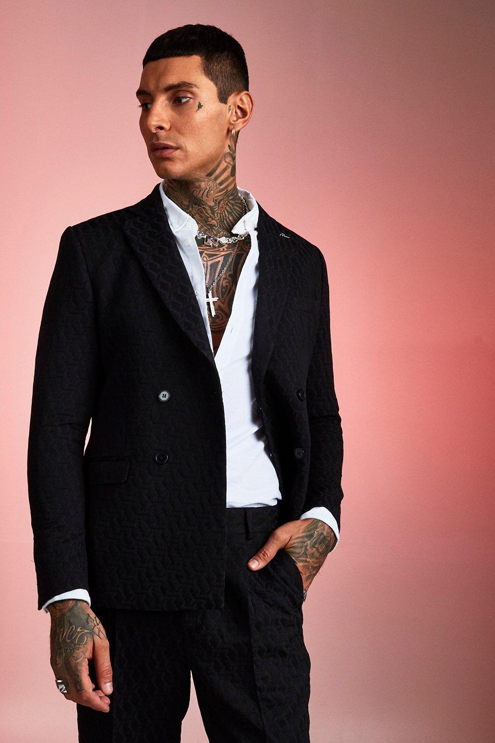 Boohoo Jacquard Double Breasted Skinny Fit Suit Jacket ...