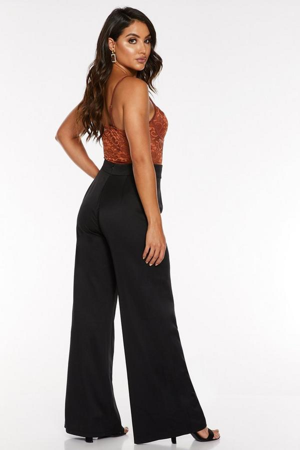 quiz black belted palazzo trousers - 00100023416 XB - Quiz Black Belted Palazzo Trousers