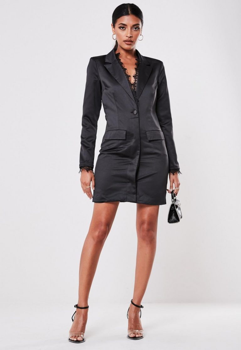 missguided black lace front blazer dress - black lace front blazer dress 768x1113 - Missguided black lace front blazer dress