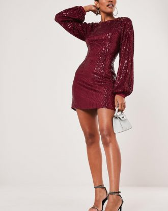 boutiques in lagos - missguided designer Wine Wine Balloon Sleeve Sequin Shift Dress 330x413 - Home