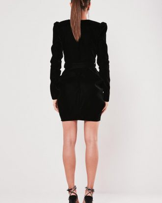 boutiques in lagos - peace love black velvet plunge belted mini dress 3 330x413 - Home