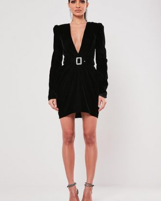 boutiques in lagos - peace love black velvet plunge belted mini dress 330x413 - Home